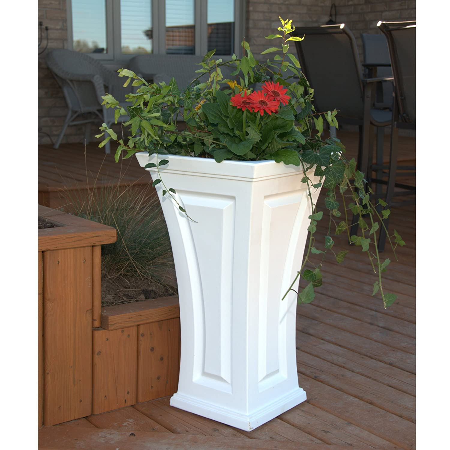 Amazoncom Mayne Inc Cambridge Tall Planter White Garden