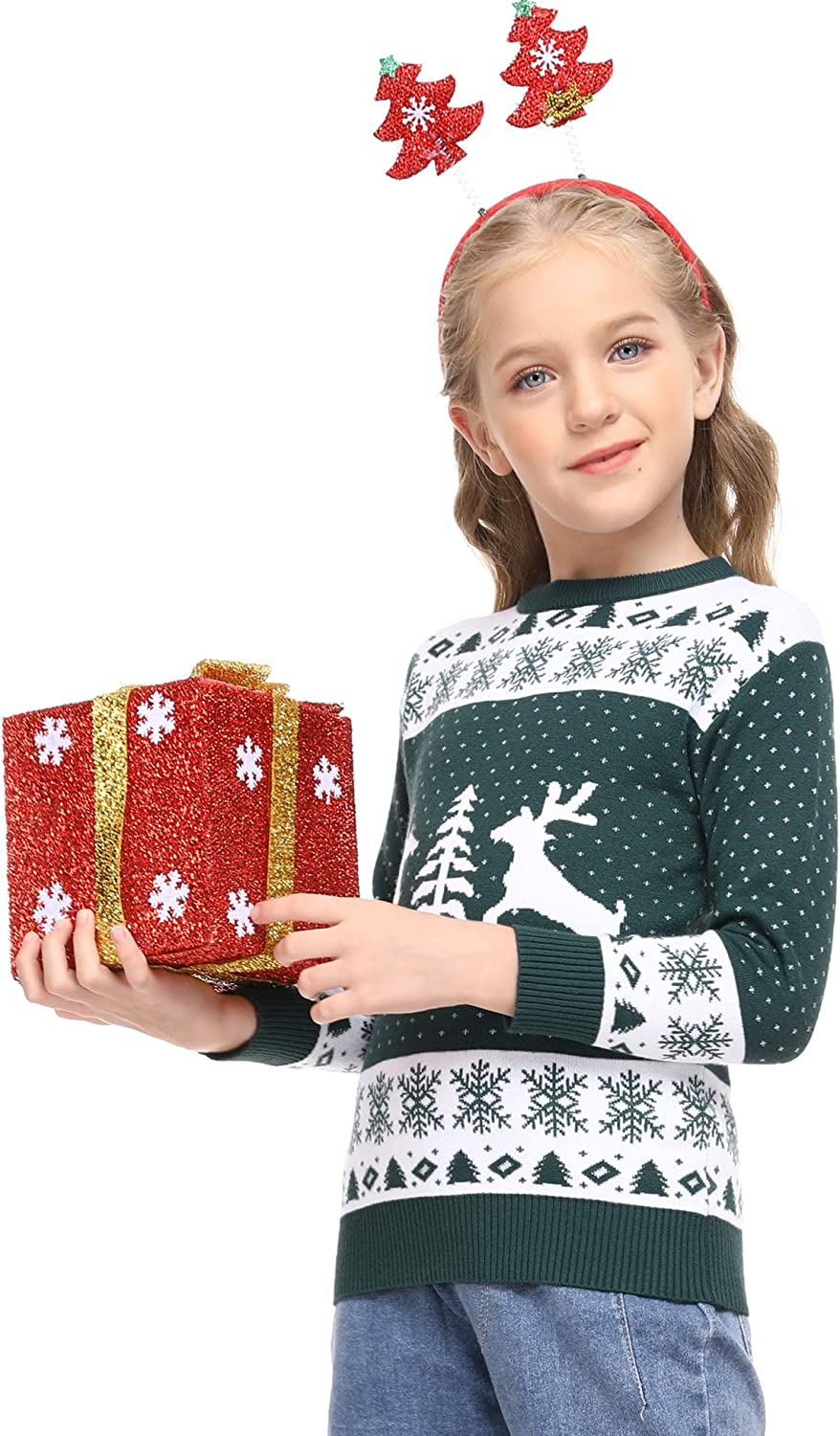 YEAQING Family Matching Christmas Sweater Round Neck Reindeer Snowflakes Knitted Ugly Sweater Pullover Dad,Mom,Kids