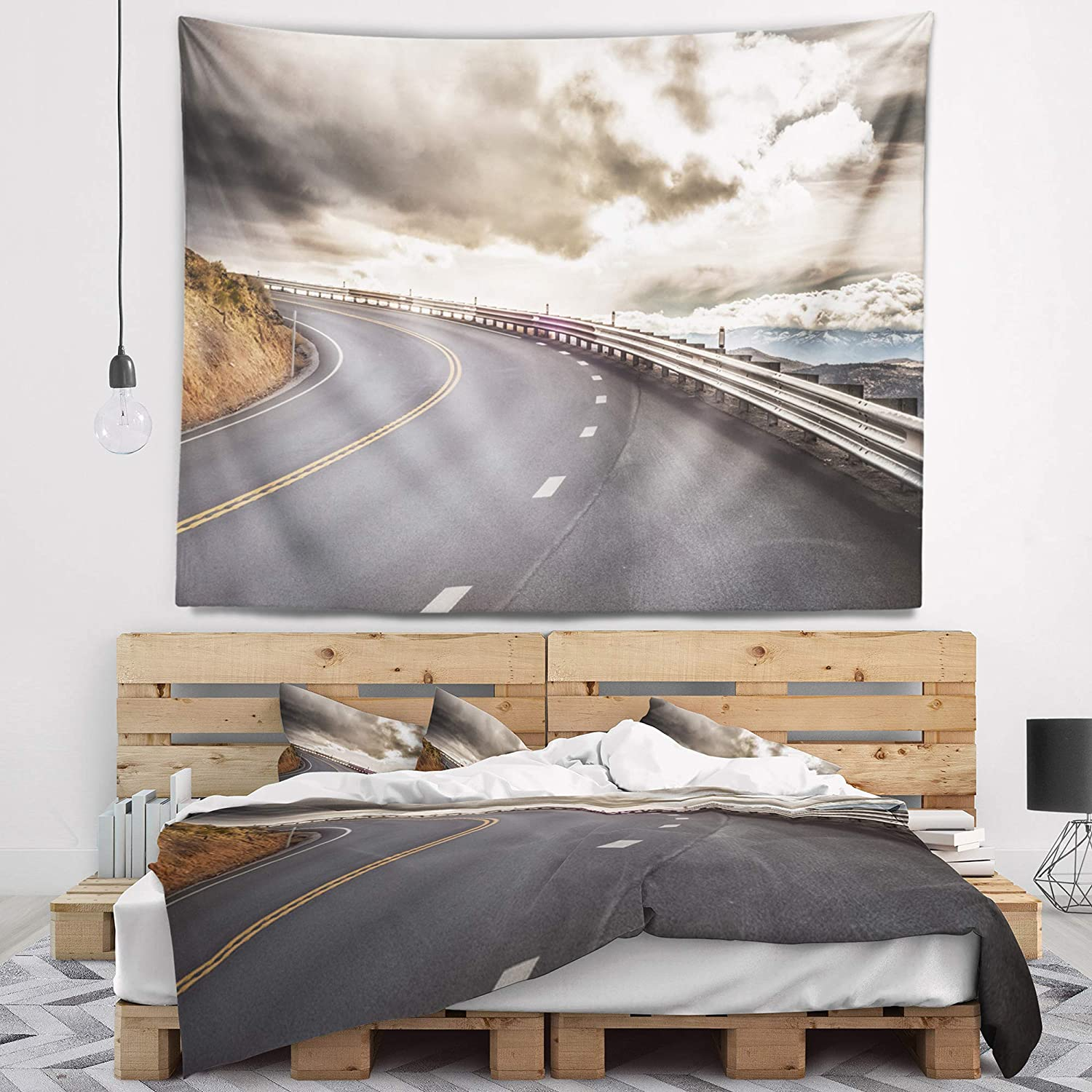 Designart TAP7058-60-50  Sky Road Curve Landscape Photography Blanket D/écor Art for Home and Office Wall Tapestry Large x 50 in 60 in Created On Lightweight Polyester Fabric