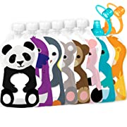 Squooshi Reusable Food Pouches | Family Starter Kit | 6 Large + 2 Small Pouches