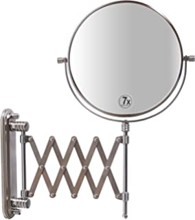 DecoBros 8 Inch Two Sided Extension Wall Mount Mirror With 7x Magnification 135