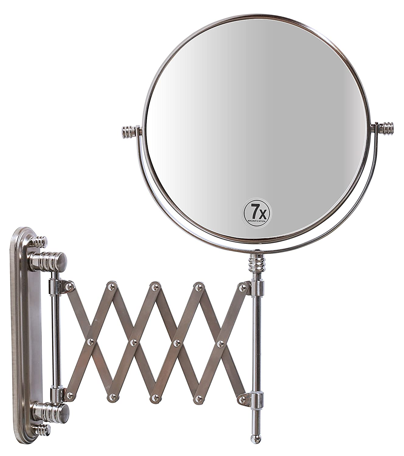 DecoBros 8-Inch Two-Sided Extension Wall Mount Mirror with 7x Magnification, 13.5-Inch Extension, Nickel : Beauty