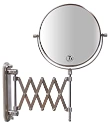 DecoBros 8-Inch Two-Sided Scissor Arm Extension Wall Mount Mirror with 7x