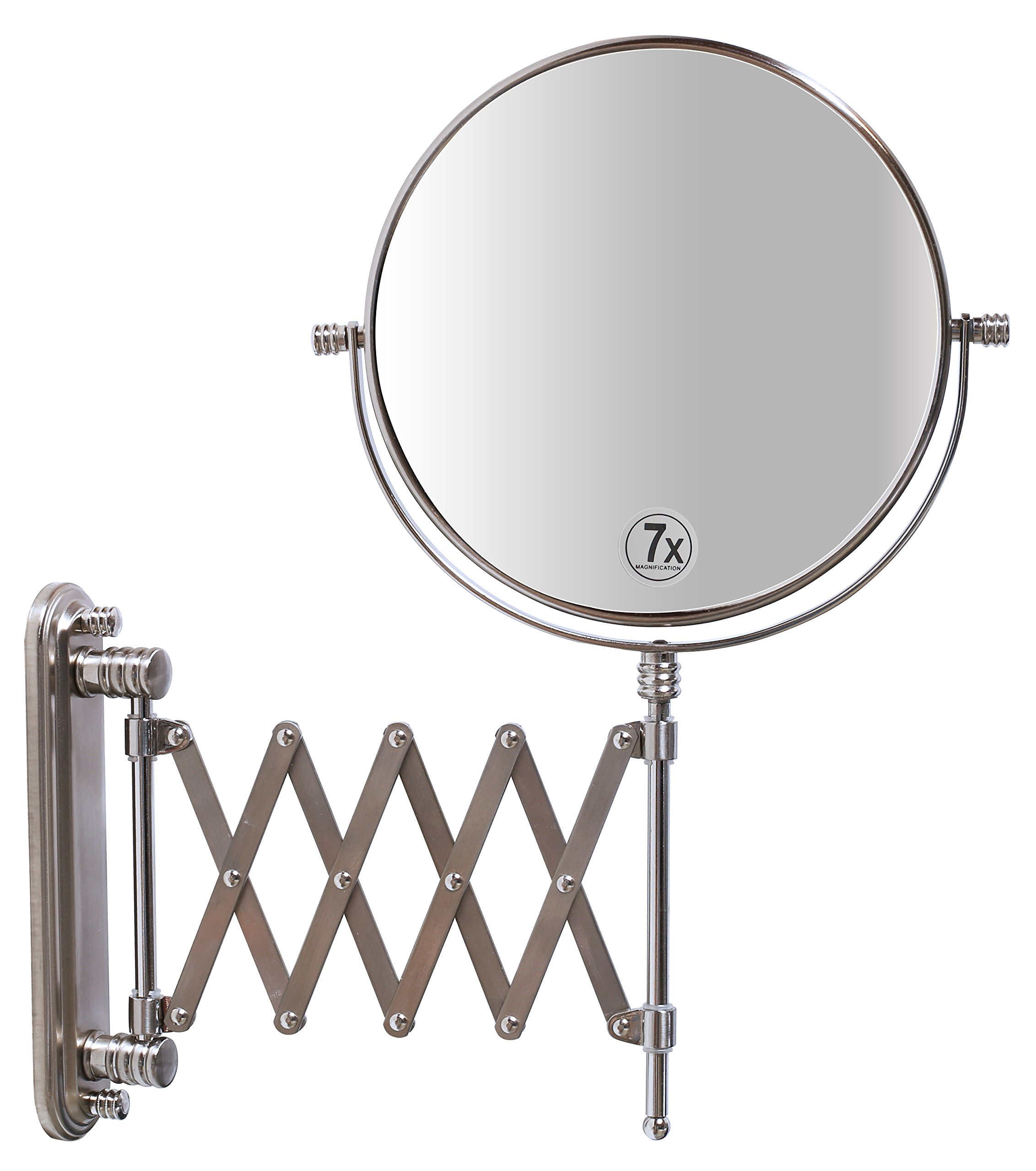 DecoBros 8-Inch Two-Sided Extension Wall Mount Mirror with 7x Magnification, 13.5-Inch Extension, Nickel