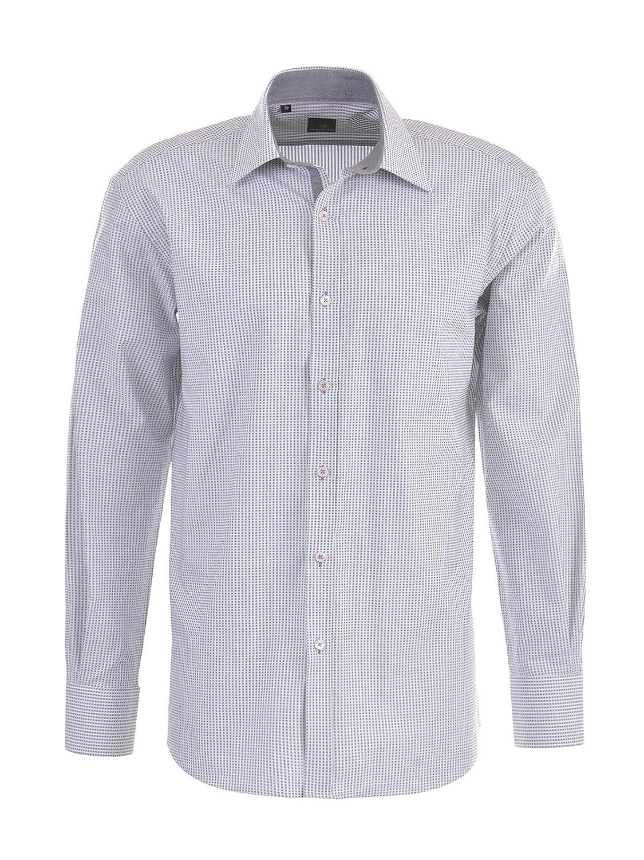 MILANO ITALY Herren Hemd Businesshemd, grau-weiß