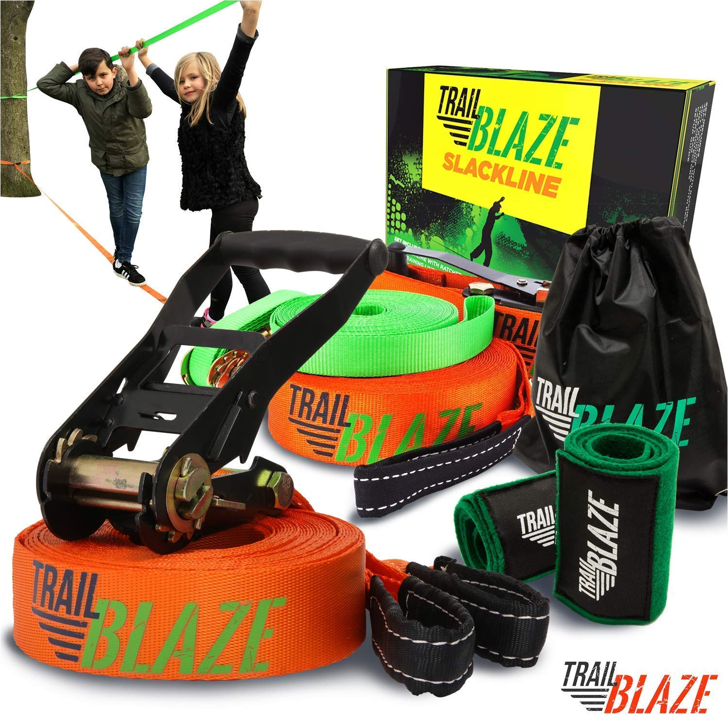 Premium Slackline Kit with Training Line - 60ft Slack Line Longest Ever - Tree Protectors Arm Trainer Ratchet Cover - Ninja Tight Rope for Trees Easy Setup Outdoor Healthy Fun by Trailblaze