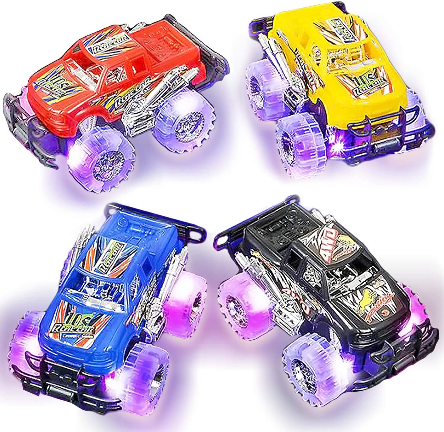 Amazon Com Light Up Monster Truck Set For Boys And Girls By Artcreativity Set Includes 2 6 Inch Monster Trucks With Beautiful Flashing Led Tires Push N Go Toy Cars Best