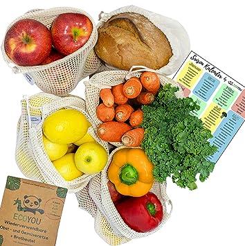 ecoyou bolsas reutilizables de fruta y verdura algodón ...