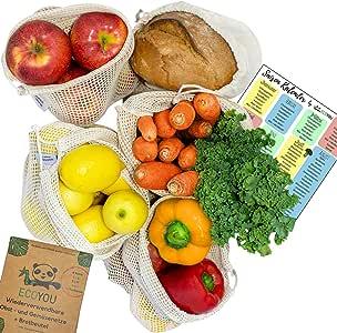 EcoYou - Bolsa Reutilizable para Frutas y Verduras (algodón Bio, 5 Unidades, 100, Natural, S, 2 x M, L + Bolsa para el Pan): Amazon.es: Hogar