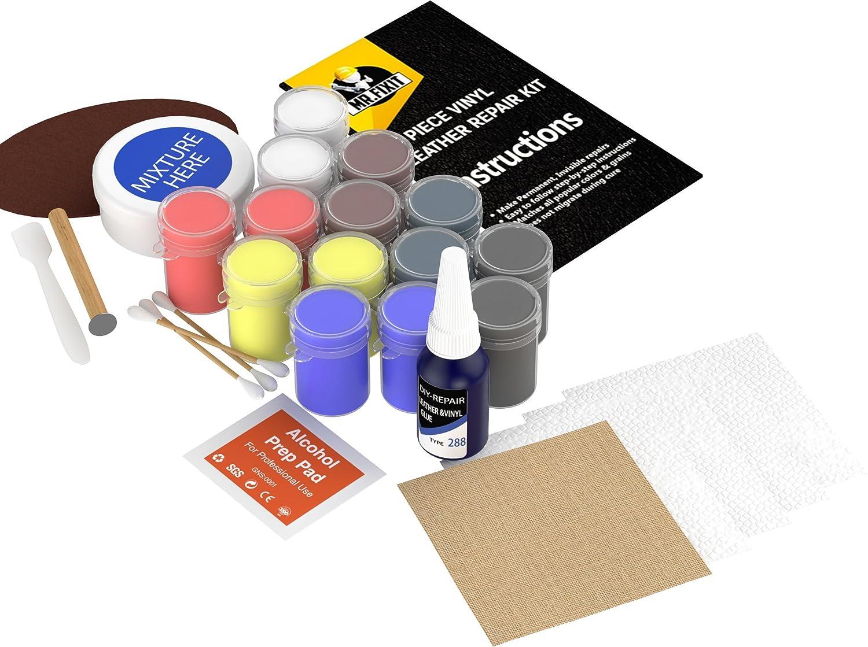 ... Kit de reparación de piel - [hacer cosas prácticamente nuevo] para sofá, sillas de coche, sofá, chaquetas, bolso de mano, botas [, de secado rápido ...