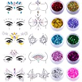 SIQUK 10 Sets Face Jewels Body Gems Stickers Mermaid Face Body Jewels Crystal Stickers with 10 Boxes Chunky Face Glitter…