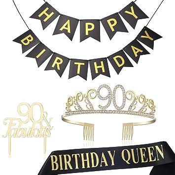 Amazon.com: BABEYOND - Tiara de 90 cumpleaños y cinta de ...