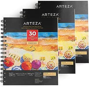 Arteza Bloc de dibujo para pintar acuarelas | Tamaño A5 | Pack de 3 blocs | 30 hojas x 3 | Papel de 300gsm prensado en frío | Libreta A5 con papel