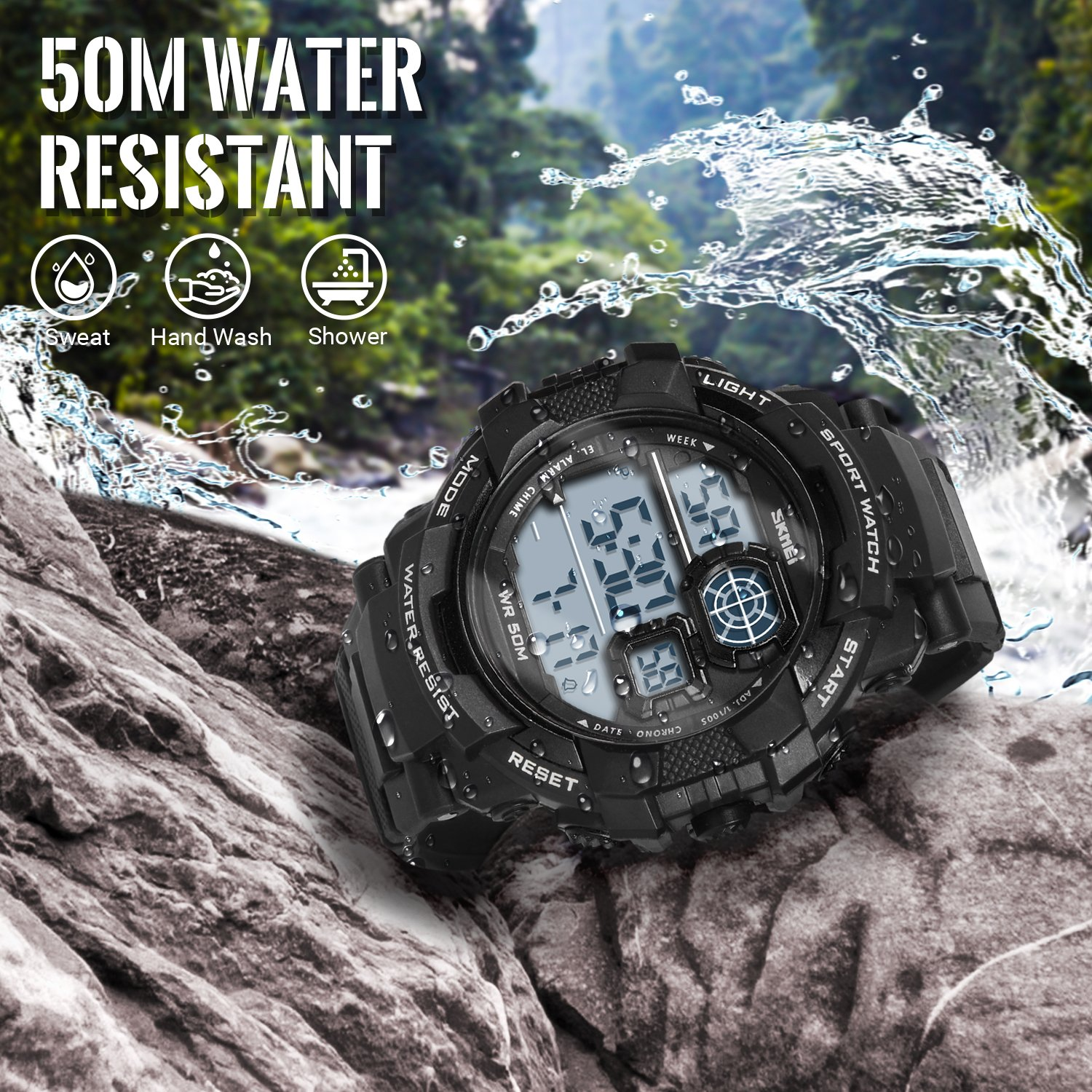 HIwatch Men's Sport Watches LED Military Watches and 50M Waterproof Casual Luminous Stopwatch Alarm Simple Army Watch, Electronic Analog Quartz Watches for Youth Students Gift, Black by Hi Watch (Image #4)
