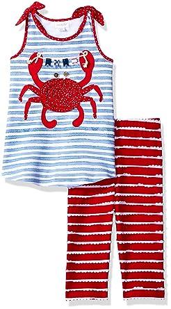 dcf4b0b2a Amazon.com  Mud Pie Baby Girls  Two Piece Pants Set Sleeveless ...