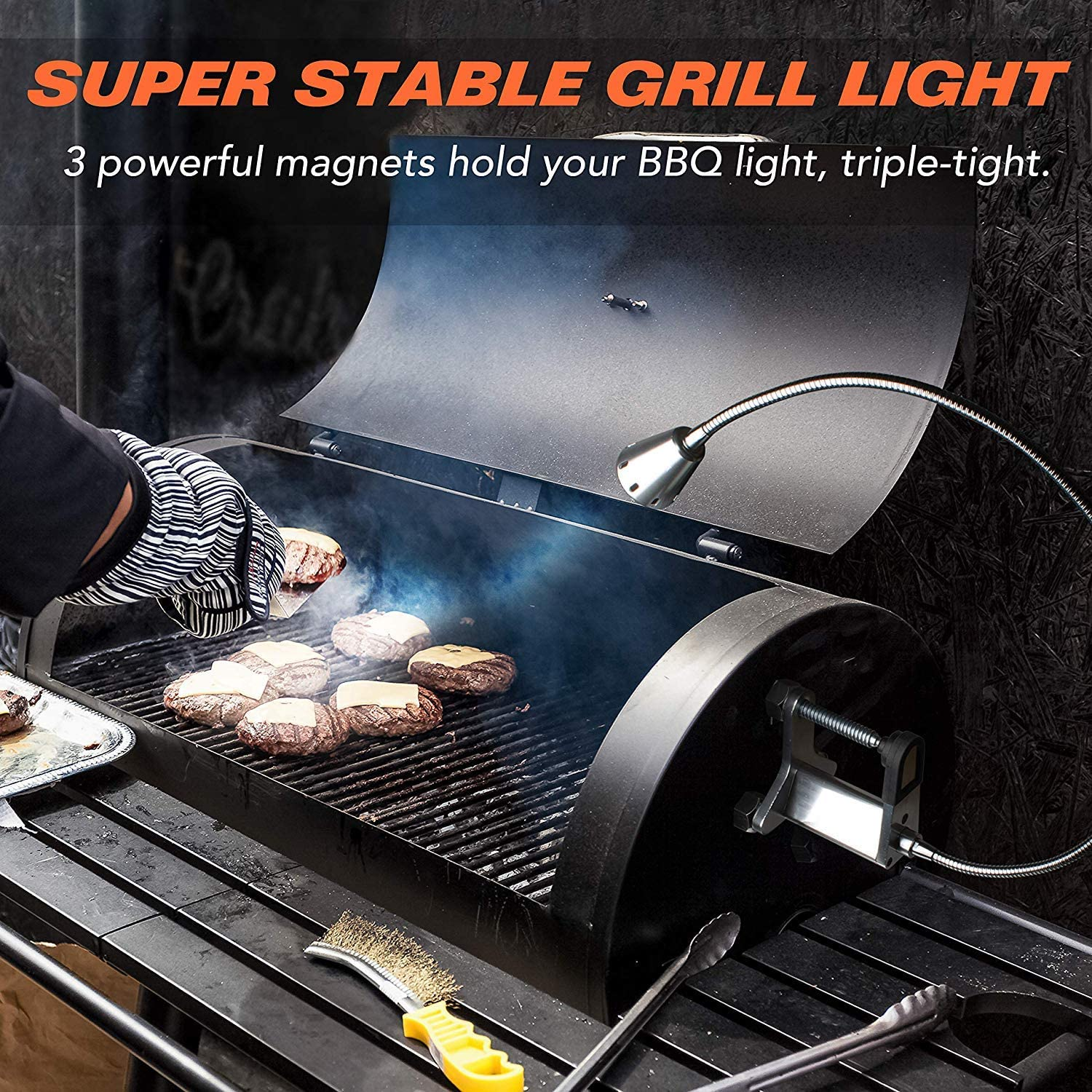 SHINGO Clamp and Grilling Accessories w// 3 Heavy Duty Magnets Magnetic Grill Light Cordless Grill Lights for BBQ