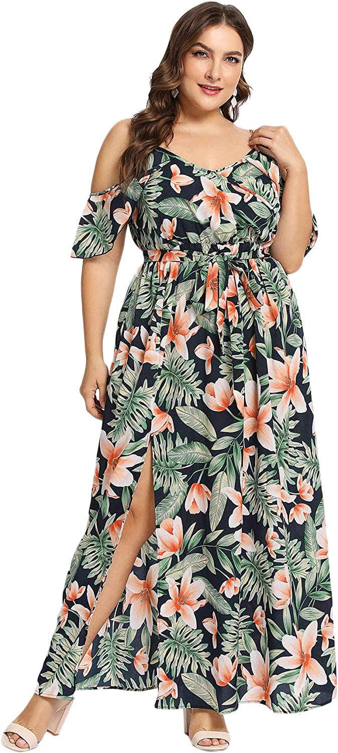 Milumia Women's Plus Size Cold Shoulder Floral Slit Hem Tropical Summer Maxi Dress