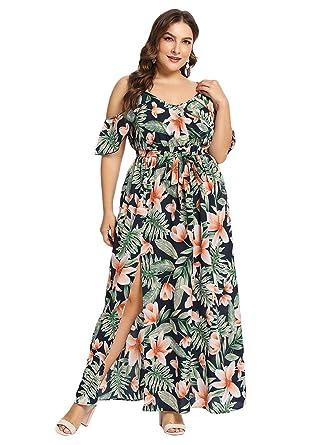 c72c79d07a6 Milumia Women s Plus Size Cold Shoulder Floral Slit Hem Tropical Summer Maxi  Dress Multicolor-2