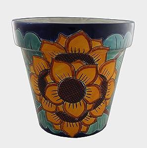 Mexican Talavera Planter Ceramic Flower Pot Folk Art Pottery Garden Handmade # 04