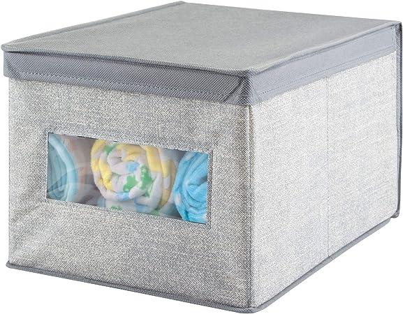 mDesign Caja organizadora de tela grande - Caja de tela con tapa ...