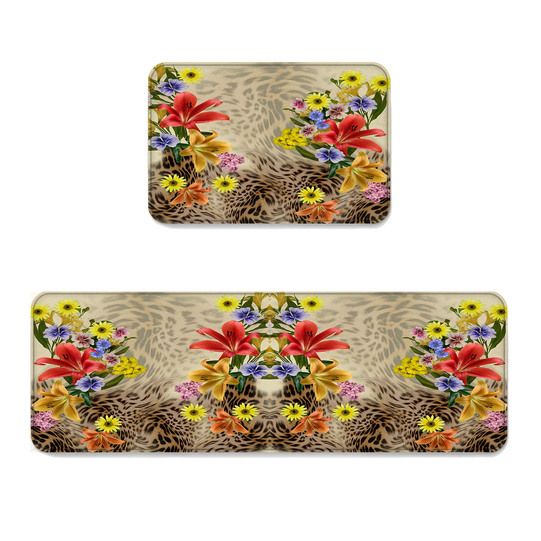 "Fantasy Star Kitchen Rug Sets 2 Piece Kitchen Floor Mats Non-Slip Rubber Backing Area Rugs Flower Leopard Doormat Rubber Backing Washable Carpet Inside Door Mat Pad Sets (15.7"" x 23.6""+15.7"" x 47.2"")"