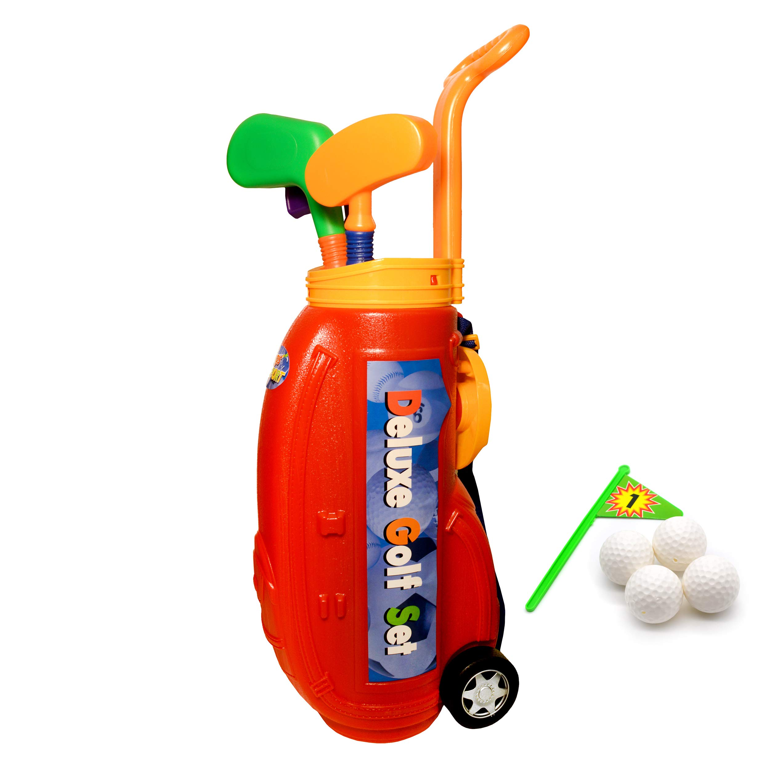 Kid's Toy Golf Clubs Deluxe Set - Includes 4 Balls and Accessories - Outdoors Children's Sports Toys, Mini Golf by Jimmy's Toys