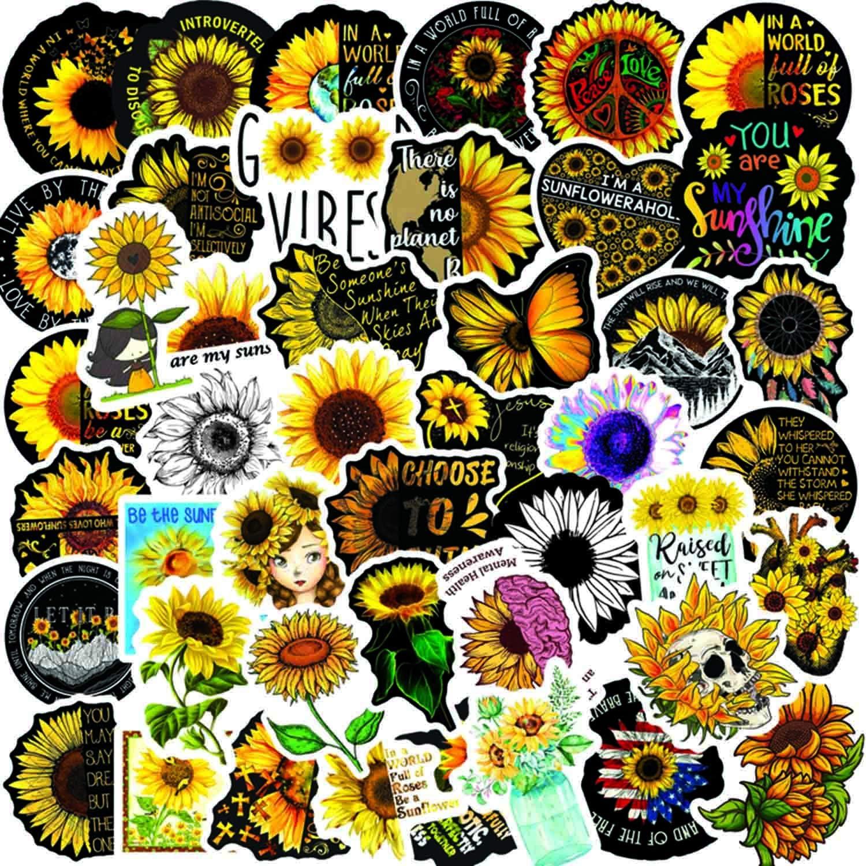 HUIZHE Kawaii Stickers for Kids, 50 Pcs Vinyl Waterproof Cool Stickers Decal for Hydroflask, Laptops, Folders, Refrigerators, Walls, Windows, Girls (Sun Flower)
