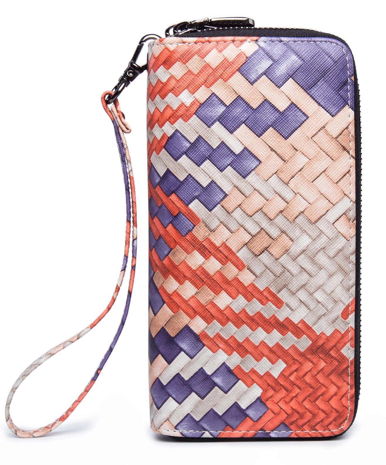 LOVEME Women Red Braided Pattern Double Zipper Wallets Hangbag Bank Card Cash Package (RED-GZW28)