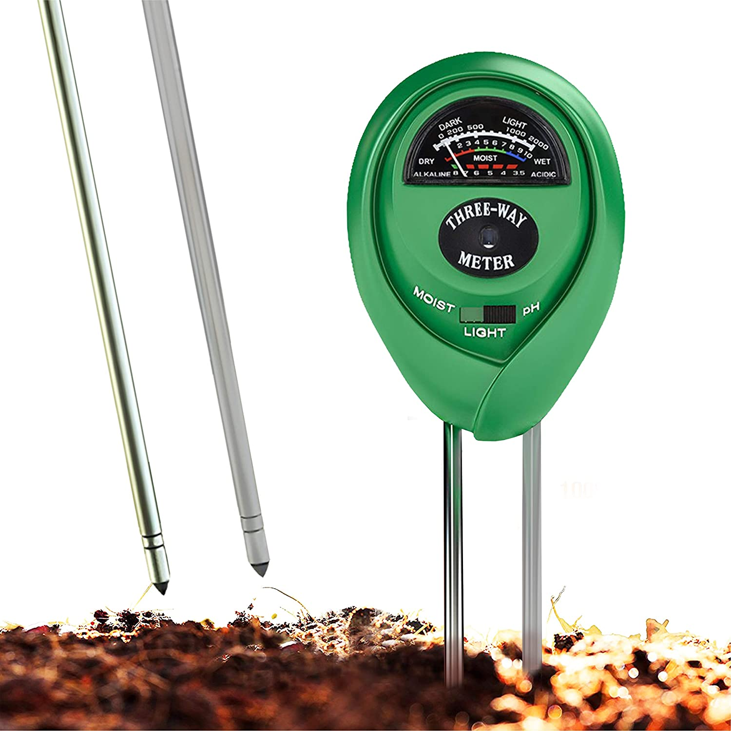 Soil pH Meter, 3-in-1 Soil Test Kit For Moisture, Light & pH, A Must Have For Home And Garden, Lawn, Farm, Plants, Herbs & Gardening Tools, Indoor/Outdoors Plant Care Soil Tester (No Battery Needed)