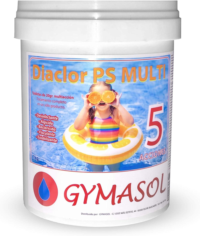 GYMASOL-Cloro Especial Mini Piscinas, 5 acciones, Tabletas 20 Gramos, Bote 1 Kilo