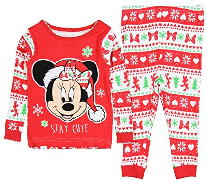disney minnie mouse festive christmas stay cute toddler girls pajamas 9 month