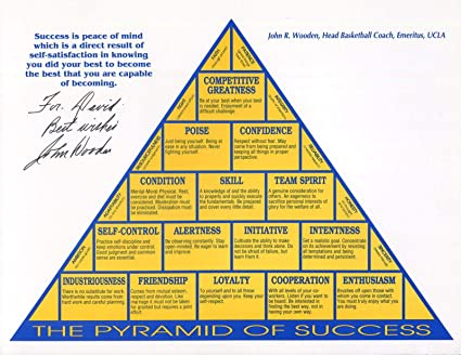 Signed Wooden Photo 8x11 Pyramid Of Success Bk Coach For David