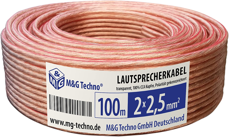 0,36€//m Boxenkabel Lautsprecherkabel High End in rot schwarz 2,5mm Rolle 100m
