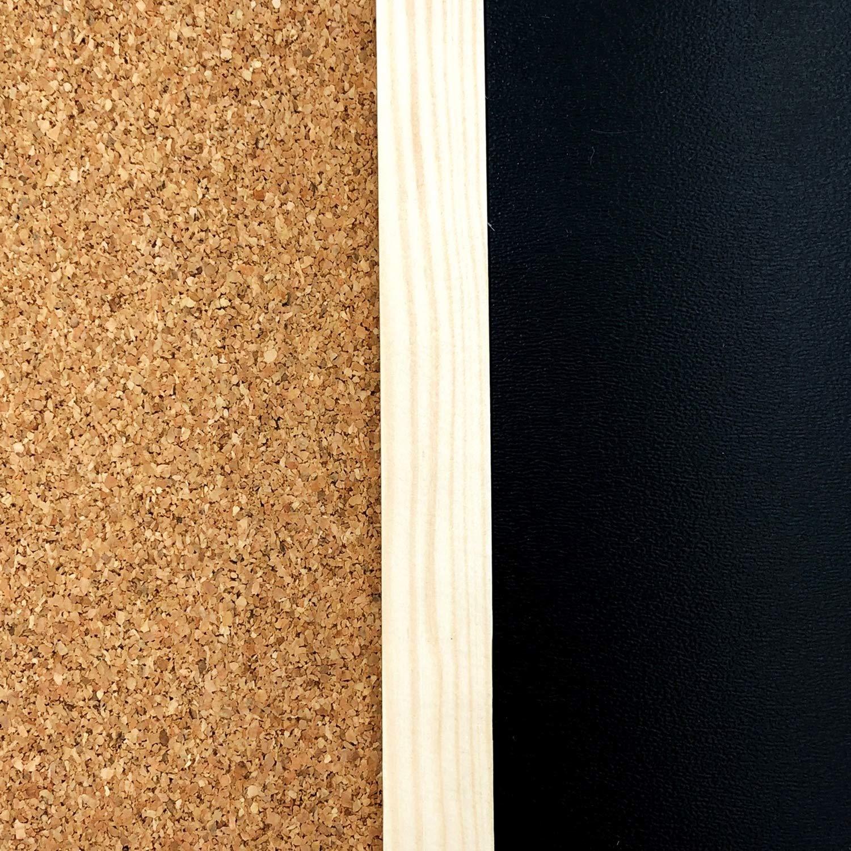 Scuola Made in EU Cornice di Legno Spessa Gesso Creative Deco Lavagna e Pannello di Sughero 600 x 400 mm 2in1 Ufficio Pub e casa Spugna e spilli Perfetto per Ristorante