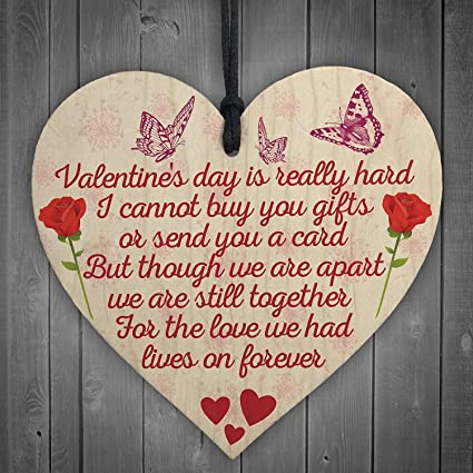 RED OCEAN Valentines Day Husband Wife Memorial Graveside Poem Wood Heart Hanging Sign Gift: Amazon.co.uk: Kitchen & Home