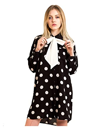 61b476f0bed95d Lady dot spot printed chiffon long longline maxi swing shirt dress with bow  tie up waist belt black white oversize: Amazon.co.uk: Clothing