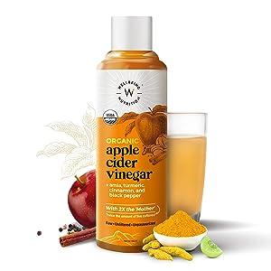 Wellbeing Nutrition USDA Organic Himalayan Apple Cider Vinegar (2X Mother) with Amla (Vitamin C for Immunity), Turmeric, Cinnamon & Black Pepper   Raw, Unfiltered, Unpasteurized - 500ml