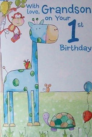 Grandson 1st Birthday Card Grandson Age 1 Card Amazon