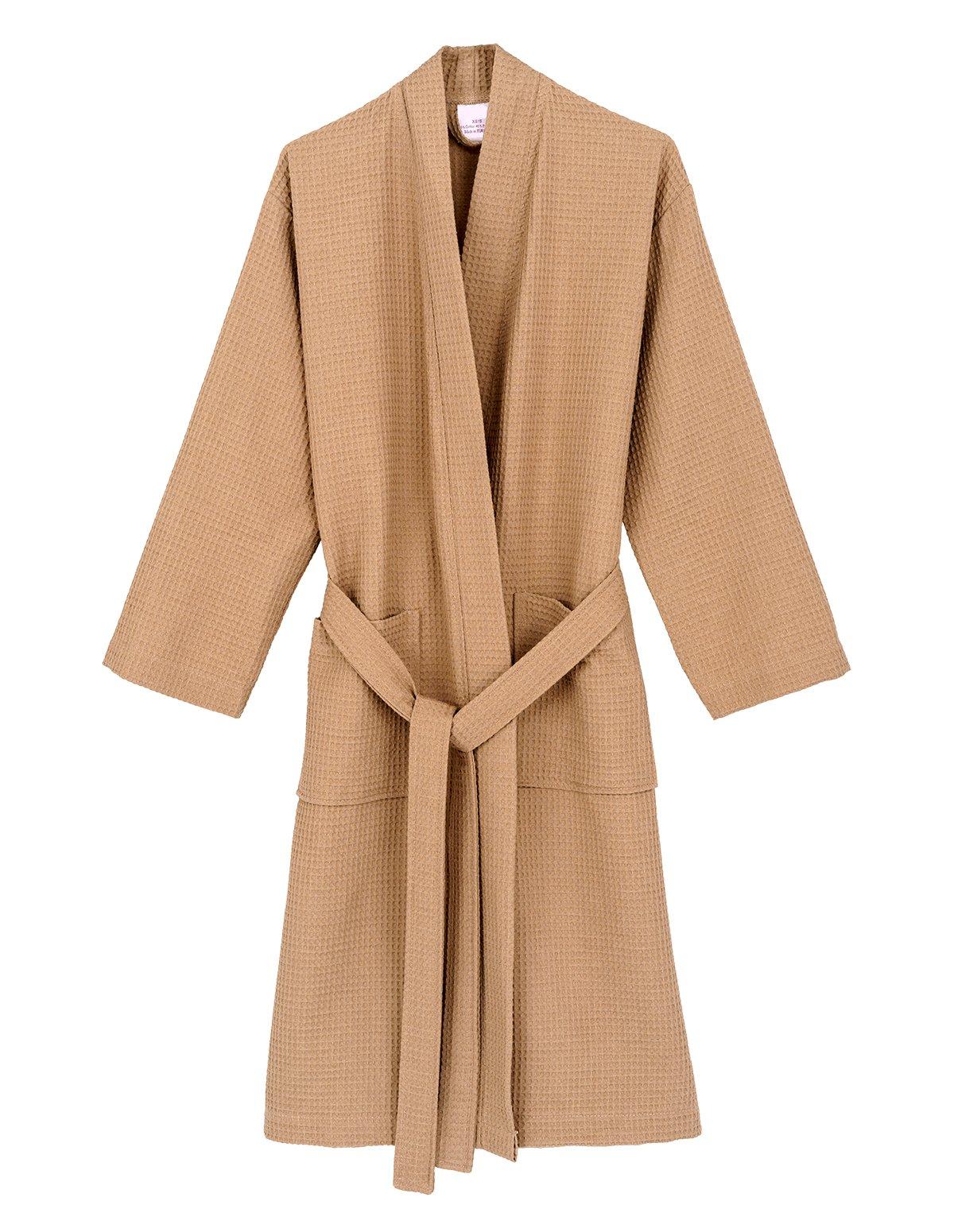 TowelSelections Women's Robe, Kimono Waffle Spa Bathrobe X-Small/Small Warm Taupe