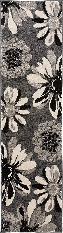 Rugshop Modern Flowers Runner Rug 2 x 7 2 Gray
