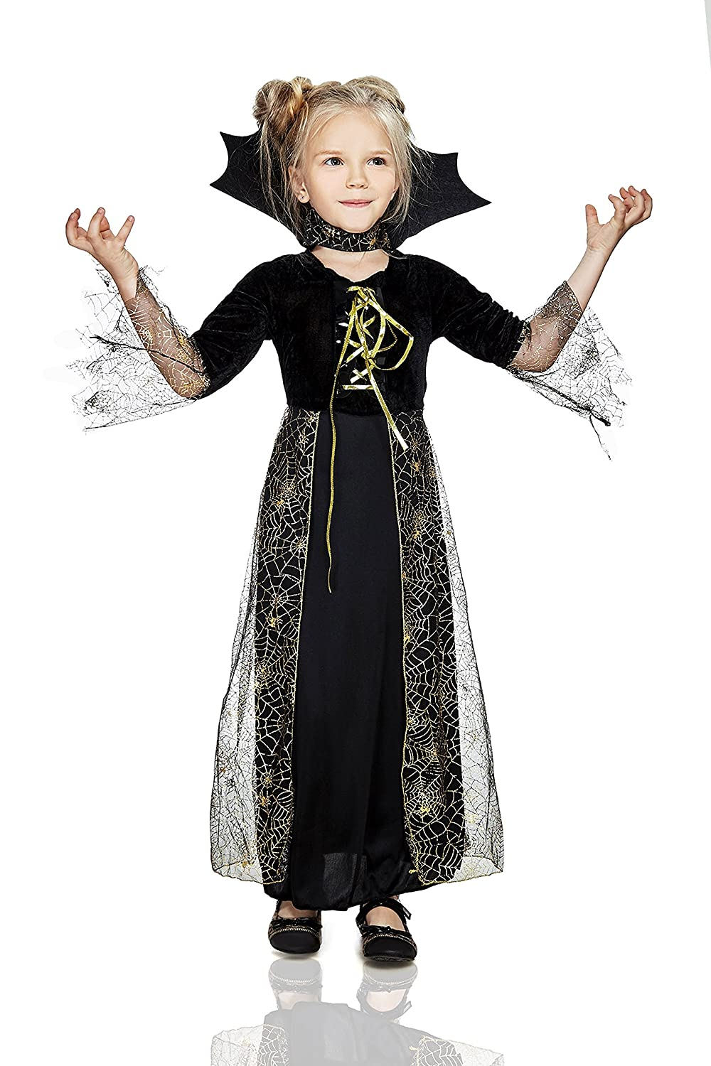 ddd8a76a7712 Amazon.com: La Mascarade Kids Girls Spiderella Halloween Costume Black  Spider Witch Dress Up & Role Play: Clothing