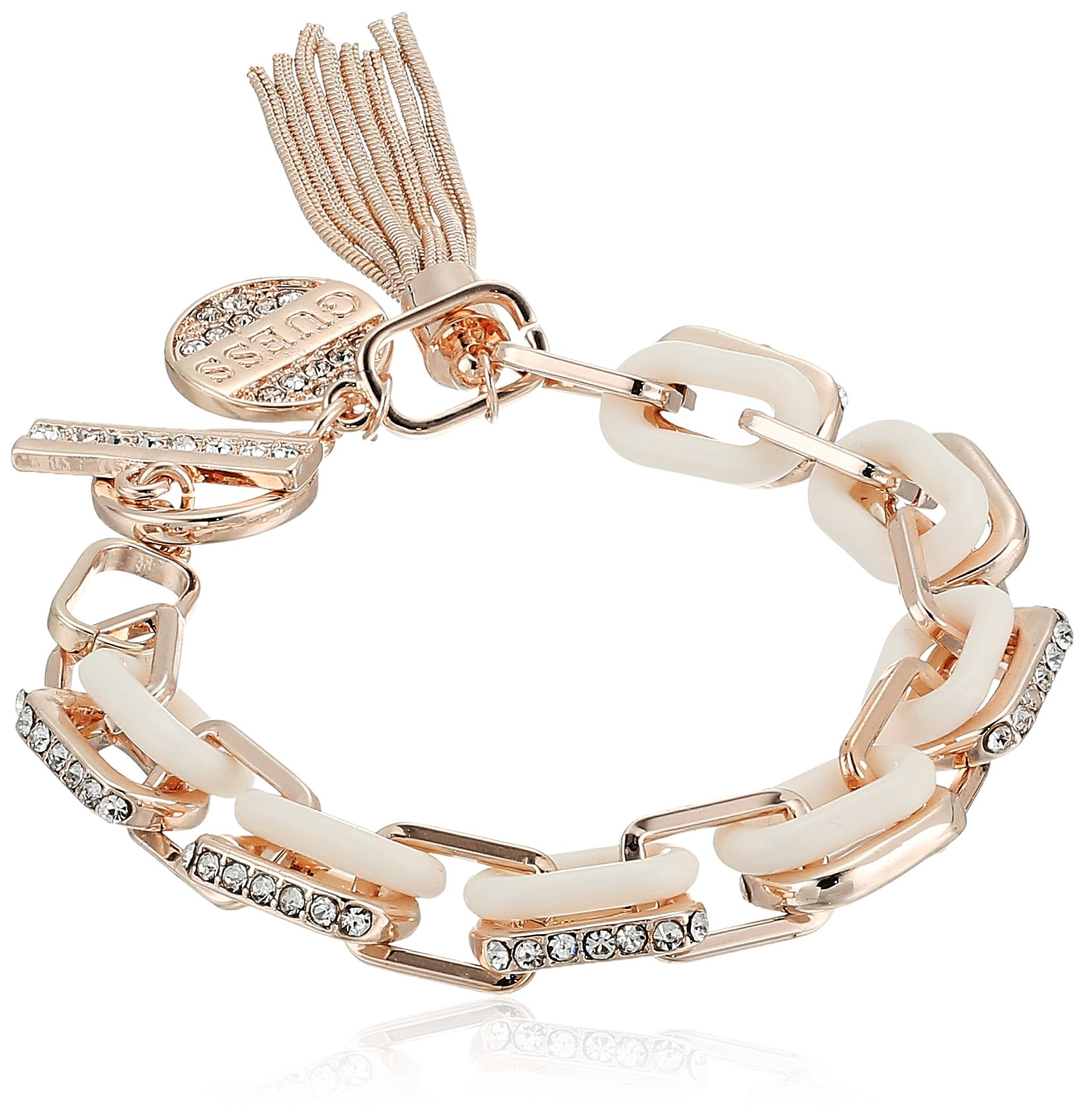 GUESS Womens Spring Whites Line Link Bracelet with Stones, Rose Gold, One Size