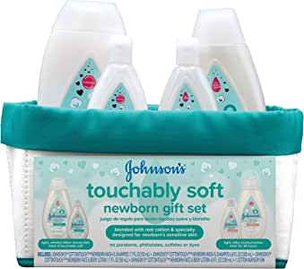 Johnson's Touchably Soft Newborn Baby Gift Set For New Parents, Baby Bath & Skincare Essentials for Sensitive Skin, 5 items
