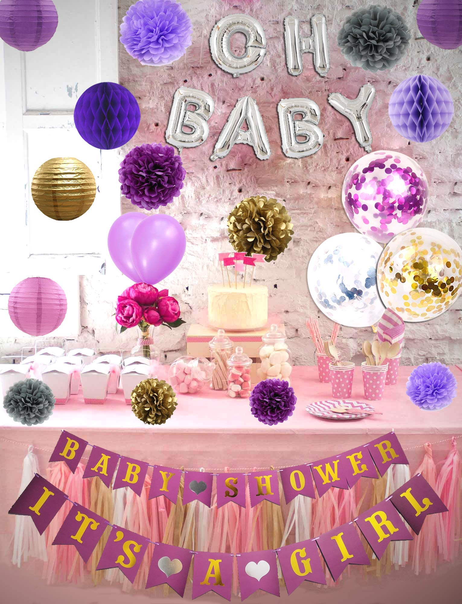 Baby Shower, Party and Nursery Room Decorations- BABY SHOWER & IT'S A GIRL Banners, OH BABY inflatable balloon, Pom Poms Paper, Lanterns, Honeycomb Balls Purple/Gold/Silver,Confetti Balloons