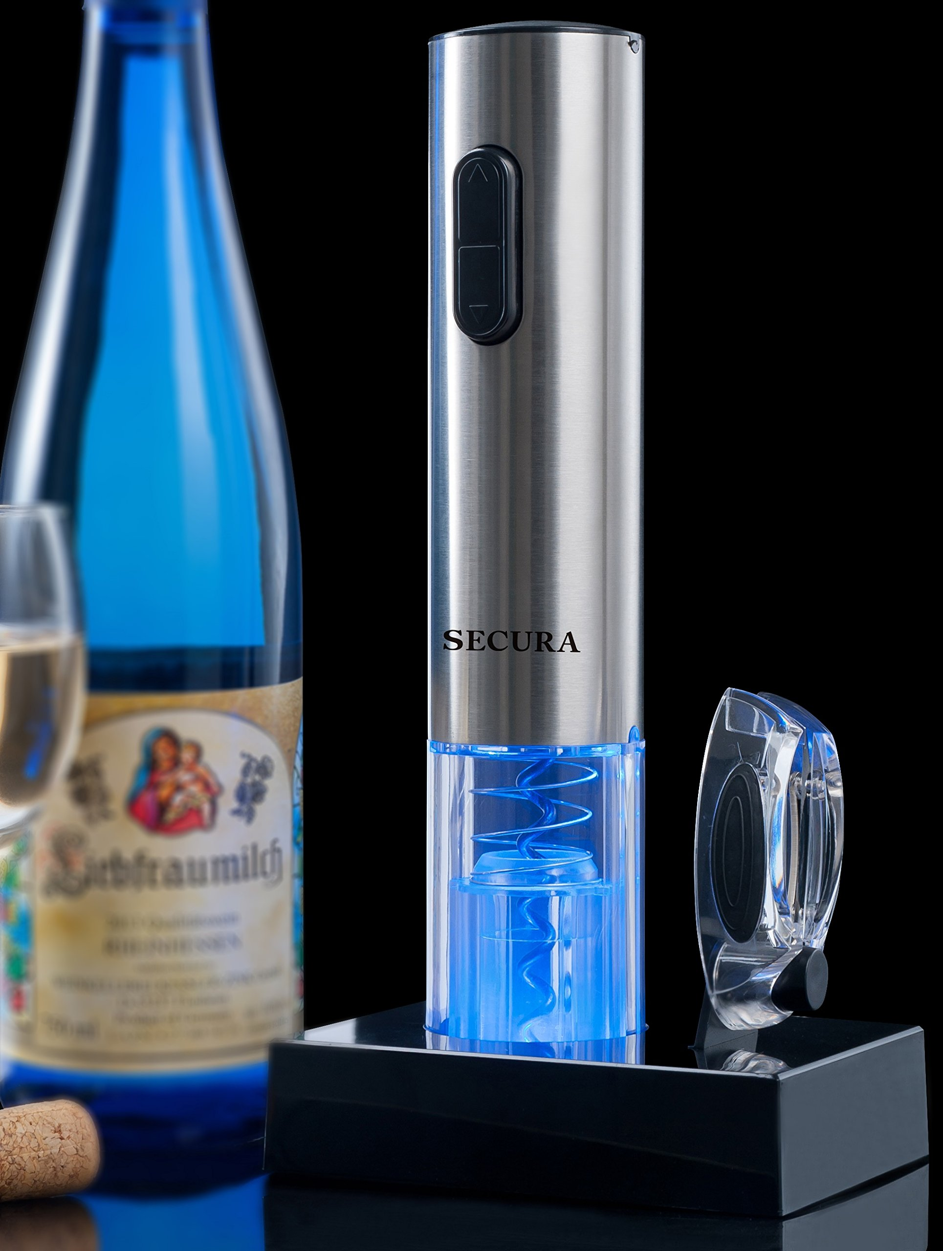 Secura SWO-3N Stainless Steel Electric Wine Opener Corkscrew Bottle Opener with Foil Cutter (Stainless Steel) by Secura (Image #3)