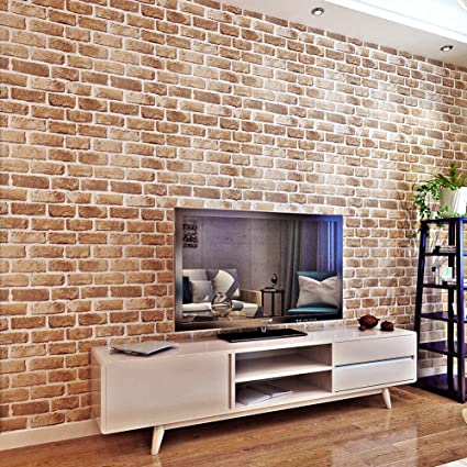 Hanmero Papel Pintado Autoadhesivo Moderno Imitacion Ladrillo - Papel-para-paredes-decorativo