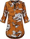 Sunerlory Women's Blouse Zip up Floral Top Casual Long Sleeve Shirts Chiffon V-Neck Tunic Blouse