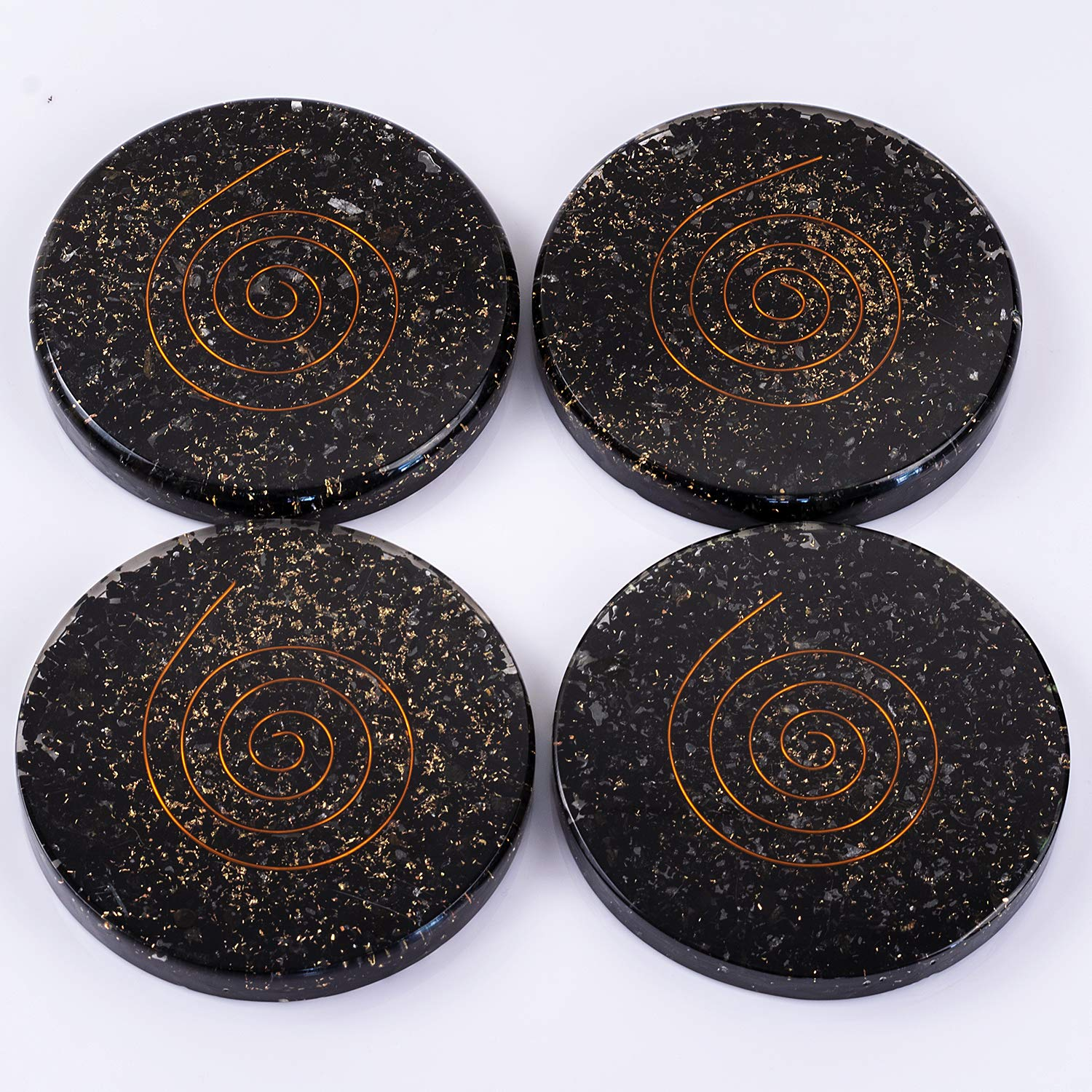Black Tourmaline Orgone Chakra Healing Handmade Coasters for Drinks Disperses Negative Energy - Orgone EMF Protection | Crystal Coasters Set of 4 by Divine Magic