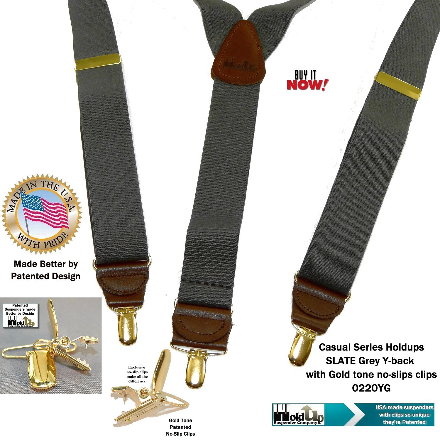 Holdup Suspender Company Slate Grey Men's Y-back Clip-on Suspenders in 1 1/2'' width featuring Patented No-slip Gold-Tone Clips by Hold-Up Suspender Co. (Image #7)