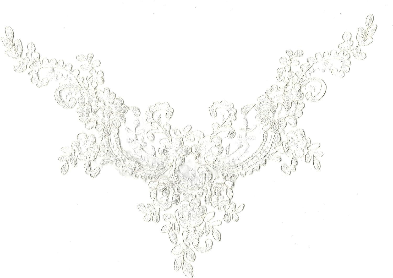 Vintage-punta blanca bordada escote cuello cuello Patch coser aplicación